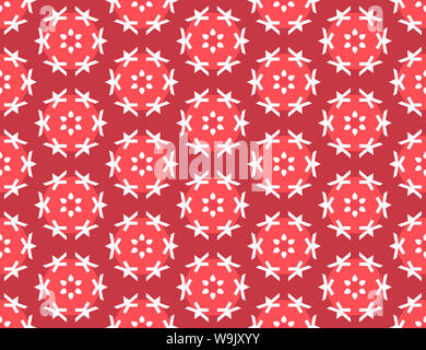 Seamless geometric pattern. Shaped white flowers, lines, light red circles on red background. - Stock Photo
