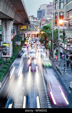 Sukhumvit Road traffic in rush hour, Bangkok, Thailand, Southeast Asia, Asia - Stock Photo