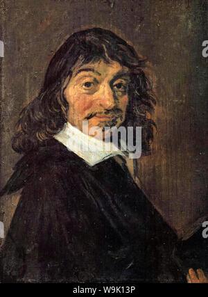René Descartes (1596-1650), portrait painting by Frans Hals, 1649 - Stock Photo