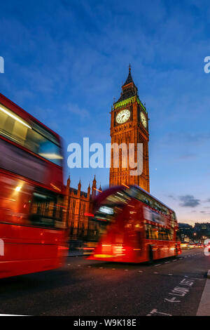 Typical double decker bus and Big Ben, Westminster, London, England, United Kingdom, Europe - Stock Photo