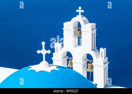 Blue dome and bell tower, St. Gerasimos church, Firostefani, Fira, Santorini (Thira), Cyclades Islands, Greek Islands, Greece, Europe - Stock Photo