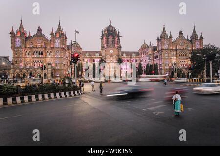 Chhatrapati Shivaji Maharaj Terminus railway station (CSMT), formerly Victoria Terminus, UNESCO World Heritage Site, Mumbai, Maharashtra, India, Asia - Stock Photo
