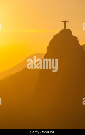 View from the Sugarloaf of Christ the Redeemer statue on Corcovado, Rio de Janeiro, Brazil, South America - Stock Photo
