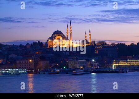 Suleymaniye Mosque, UNESCO World Heritage Site, at dusk, Istanbul, Turkey, Europe - Stock Photo