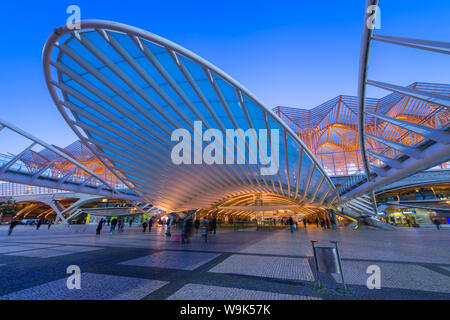 Oriente train station at the blue hour, Parque das Nacoes, Lisbon, Portugal, Europe - Stock Photo