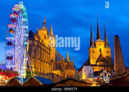 Christmas Market with Saint Marien Cathedral and Severi Church in the background, Erfurt, Thuringia, Germany, Europe - Stock Photo