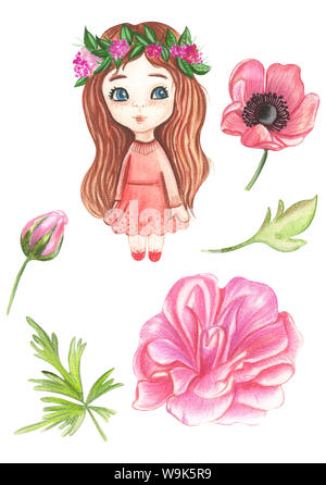 Illustration of watercolor painting of dolls of princesses in floral motifs on an isolated white background. - Stock Photo