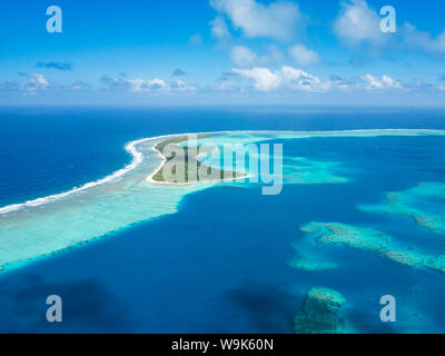 Aerial of the lagoon of Wallis, Wallis and Futuna, South Pacific, Pacific - Stock Photo