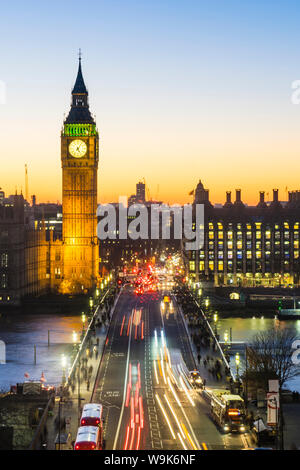 High angle view of Big Ben, the Palace of Westminster and Westminster Bridge at dusk, London, England, United Kingdom, Europe