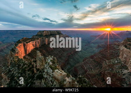 Sunset at Cape Royal, North Rim, Grand Canyon National Park, UNESCO World Heritage Site, Arizona, United States of America, North America - Stock Photo