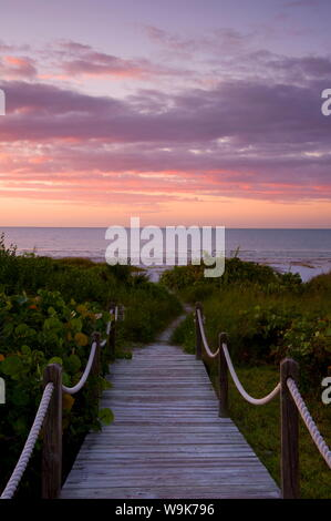 A boardwalk over sand dunes and tropical vegetation leading to the beach at sunrise, Sanibel Island, Florida, United States of America, North America - Stock Photo