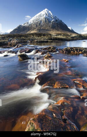 Winter view over River Etive towards snow-capped Buachaille Etive Mor, Rannoch Moor, near Fort William, Highland, Scotland, United Kingdom, Europe - Stock Photo