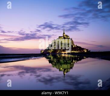 Mont Saint-Michel at sunset, UNESCO World Heritage Site, La Manche region, Basse Normandie (Normandy), France, Europe - Stock Photo