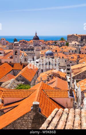Terracotta tile rooftop view of Dubrovnik Old Town, UNESCO World Heritage Site, Dubrovnik, Dalmatian Coast, Croatia, Europe - Stock Photo