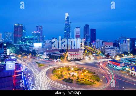 Ben Thanh market area and Bitexco Financial Tower, Ho Chi Minh City (Saigon), Vietnam, Indochina, Southeast Asia, Asia - Stock Photo