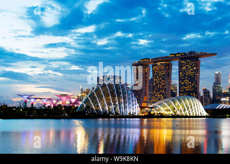 Gardens by the Bay, Cloud Forest, Flower Dome, Marina Bay Sands Hotel and Casino, Supertree Grove, Singapore, Southeast Asia, Asia