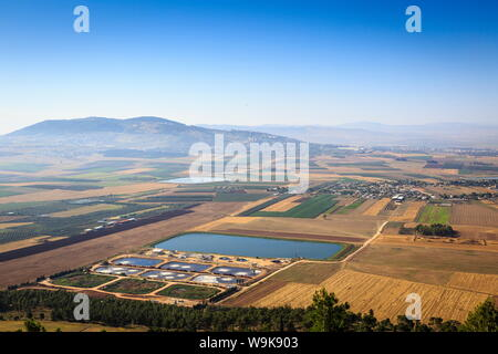 A view over Jezreel Valley from Mount Precipice, Nazareth, Galilee region, Israel, Middle East - Stock Photo