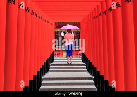 Ikuta Jinja Shrine, Kobe City, Honshu Island, Japan, Asia - Stock Photo
