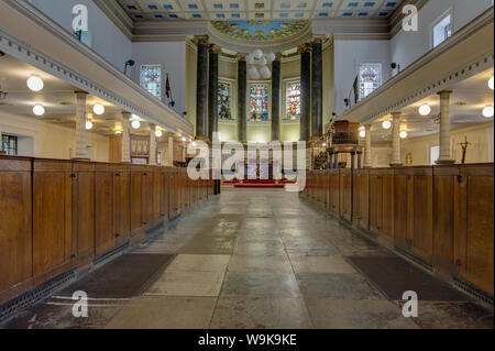 The interior of the parish church of St Pancras, London, UK; built in the Greek Revival style in 1822. - Stock Photo