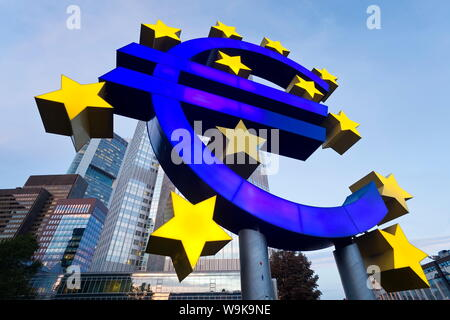 European Central Bank and Euro Symbol, Willy Brandt Platz, Frankfurt-am-Main, Hessen, Germany, Europe - Stock Photo