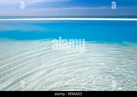 Infinity pool, Maldives, Indian Ocean, Asia - Stock Photo