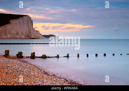 Seven Sisters Cliffs from Cuckmere Haven Beach, South Downs, East Sussex, England, United Kingdom, Europe - Stock Photo
