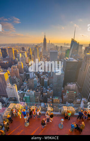 Empire State Building viewed from Rockefeller Building, Top of the Rock, Midtown, Manhatttan, New York, United States of America, North America - Stock Photo
