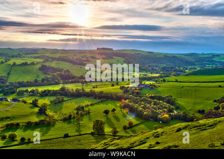 River Manifold Valley near Ilam, Peak District National Park, Derbyshire, England - Stock Photo