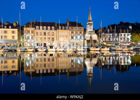 Saint Etienne Quay in Vieux Bassin at night, Honfleur, Normandy, France, Europe - Stock Photo