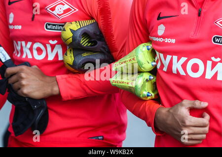 MOSCOW, RUSSIA - AUGUST 14, 2019: Spartak Moscow players before a training session ahead of the club's second leg of their 2019-20 UEFA Europa League Third Qualifying Round football match against FC Thun at Otkrytie Arena. Sergei Bobylev/TASS - Stock Photo