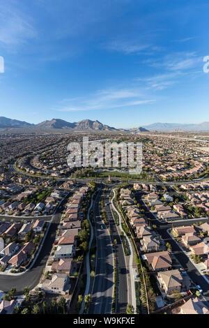 Vertical aerial view of the suburban Summerlin neighborhood in Las Vegas, Nevada. - Stock Photo