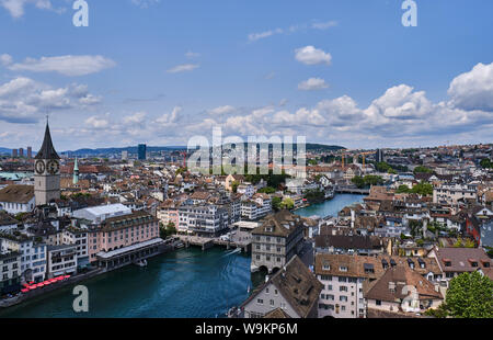 High Angle View Of River Amidst Cityscape Against Clear Sky - Stock Photo