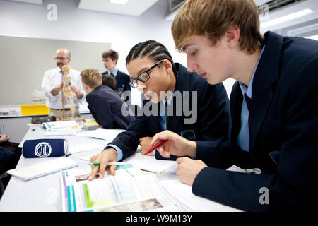 Two teenage boys study together in a science lesson UK - Stock Photo