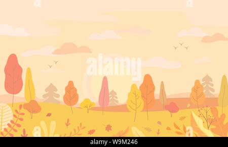 Autumn landscape view with yellow trees. - Stock Photo