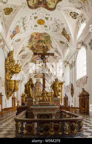 Stams, Austria (4th August 2019) - Inside view of the Basilica of Our Lady at the Stams Abbey, beautiful example of baroque art in Tyrol - Stock Photo