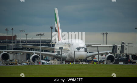 Glasgow, UK. 4 June 2019. Emirates Airbus A380 Super Jumbo seen at Glasgow departing for Dubai.  Credit: Colin Fisher/CDFIMAGES.COM - Stock Photo
