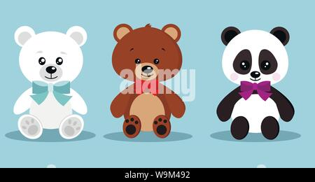 Set of isolated cute elegant holiday teddy toy bears with bow tie in sitting pose brown bear, polar bear, panda on blue background, Vector clip art - Stock Photo