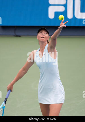 Mason, Ohio, USA. 14th Aug 2019. Maria Sharapova (RUS) loses to Ashleigh Barty (AUS) 6-4, 6-1, at the Western & Southern Open being played at Lindner Family Tennis Center in Mason, Ohio. © Leslie Billman/Tennisclix/CSM Credit: Cal Sport Media/Alamy Live News - Stock Photo