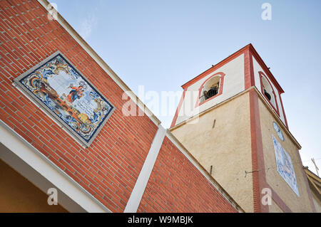 Parish Church of San Pedro Apóstol in Rojales, in the province of Alicante, Spain. Our Lady of the Rosary, Virgen del Rosario 75th anniversary plaque - Stock Photo