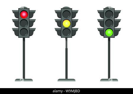 Vector concept traffic light interface icons flat design illustration set isolated on white background - Stock Photo