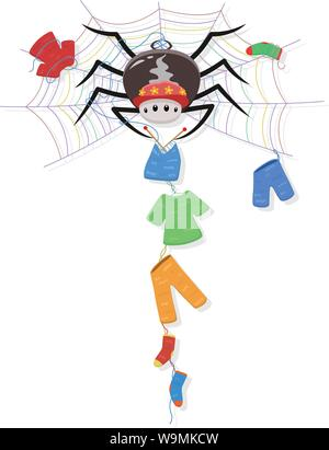 A spider with a red hat sits in a multicoloured web knitting an assortment of clothes from its own silk - Stock Photo