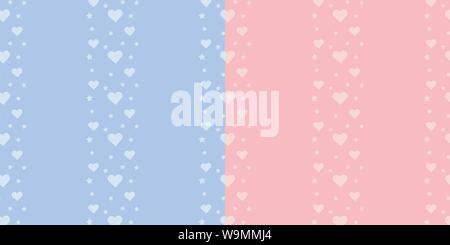 Set of vector seamless border pattern with stars and hearts on blue and pink background for boy and girl. - Stock Photo