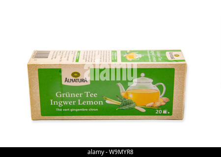 HUETTENBERG, GERMANY AUGUST 13, 2019: ALNATURA Green Tea Ginger Lemon Alnatura distributes the company, which was founded in 1984, according to ecolog - Stock Photo