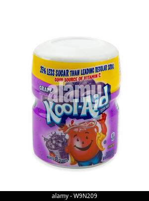 HUETTENBERG, GERMANY AUGUST 13, 2019:  A packet of Kool-Aid grape flavored drink mix. Kool-Aid, was invented in Hastings, Nebraska where locals still - Stock Photo