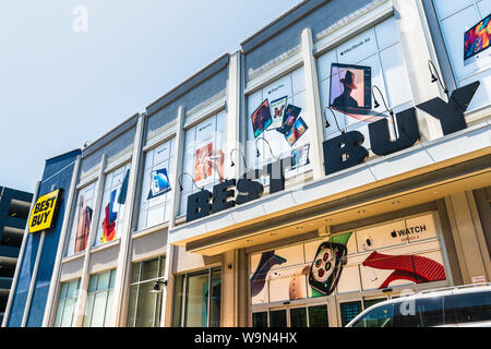 August 9, 2019 San Jose / CA / USA - Best Buy store located in the Santana Row shopping area - Stock Photo