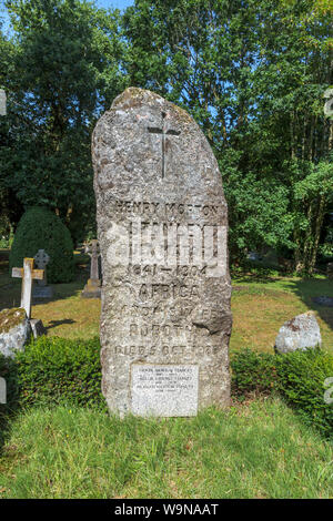 Granite gravestone of African explorer Henry Morton Stanley in the Church of St Michael and All Angels in Pirbright, a village near Woking, Surrey, UK - Stock Photo