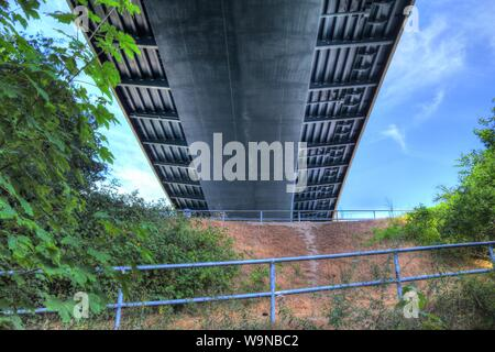 Different views at the big Kiel canal bridge in northern germany - Stock Photo