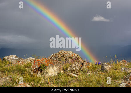 Amazing bright rainbow close-up over mountains and a valley against a stormy sky with cloud and rain and rocks in the foreground - Stock Photo