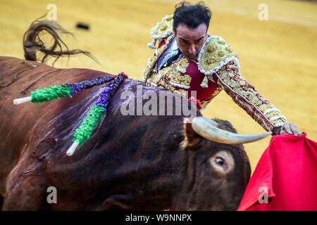 August 14, 2019: 14 augut 2019 (Malaga)Inaugural bullfight of the 145th anniversary of the bullring of La Malagueta,(Malaga) In the photo the torero Enrique Ponce. Credit: Lorenzo Carnero/ZUMA Wire/Alamy Live News - Stock Photo
