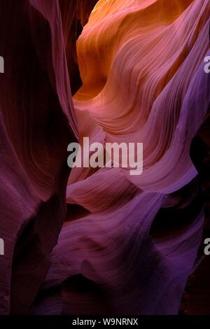 A vertical shot of the Antelope Canyon in Arizona - Stock Photo
